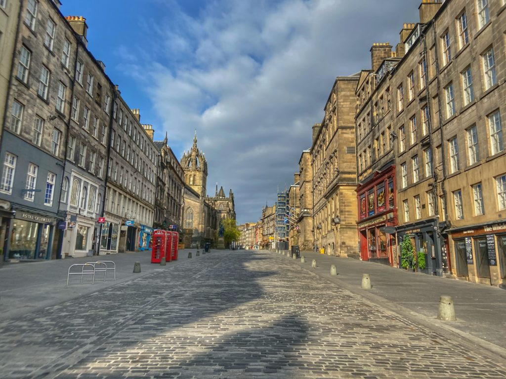 The streets of Edinburgh are empty