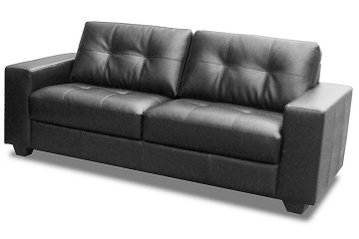 Lisbon 3 Seat Bonded Leather and Faux Leather Sofa (Black)